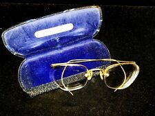 Vintage Gold Rimless Wrap Around Eyeglass Frames Glasses W Case