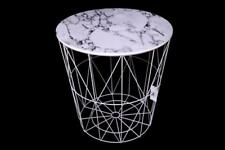 Round Modern Retro White Metal & Marble Effect Wood Lamp Coffee End Side Table