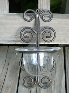 "SCONCE ~ 9"" Black Scrolled Wrought Iron Wall Sconce & Glass Candle Flower Holder"