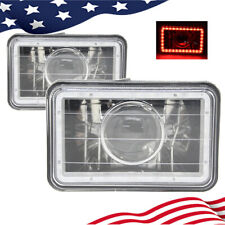 """Diamond Cut Sealed Beam Projector Headlight 4x6"""" Inch Smd Red Led Halo Clear"""