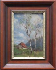 Einsames Bauernhaus mit Birken - Ölgemälde, um 1900
