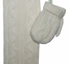 Marie Chantal 100% Cashmere Scarf and Mittens Size Small 6-12 Months NWT Ecru