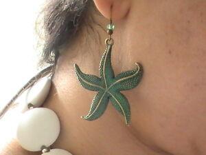 BRONZE STARFISH EARRINGS LARGE STAR FISH GREEN NAUTICAL SEA OCEAN BEACH ATLANTIS