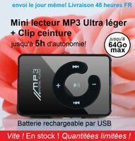 2021 Nouveau Mini MP3 lecteur Walkman USB Clip Sport Supporte 64Go max Micro SD