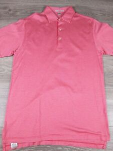 Peter Millar Men's Pink White Cotton Short Sleeve Polo Shirt Size Small S