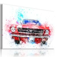 PAINTING CARS RED MUSTANG PRINT CANVAS WALL ART PICTURE  AB11  MATAGA