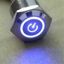 12V 5N 16mm Blue LED Power Symbol Metal Momentary on(off) Push Button Switch U0