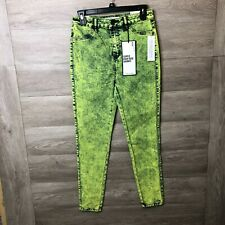Almost Famous Womens Small Neon Acid Wash Super High Rise Skinny Jeans Nwt