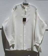 "NWT Eskandar WHITE (OYSTER) Linen 32"" Long Mandarin Collar Tunic Top (2) $895"