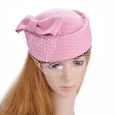 Vintage Women Hat Veil Fascinator Kentucky Derby Church Party Wedding Retro Pink