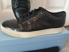 Lanvin Labyrinth Embossed Calfskin Low Top Sneakers Size 9 Black runners trainer