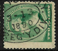 """Fancy Cancel """"3-3-1890 Year Date"""" SON 2 Cent Sc #213 Banknote 1888 US 70B44"""