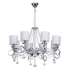 Lustre à 8 branches design moderne en cristal, métal chromé et tissu blanc