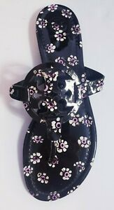 Tory Burch Black Stamped Floral Miller Printed Patent Only Single Sandal Size 10