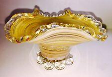 Vtg MCM Italian Murano Art Glass Mezza Filigrana Vase Applied Rigaree Orig Label