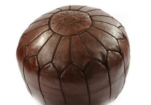 MOROCCAN CHOCOLATE BROWN HAND STITCHED LEATHER POUFFE
