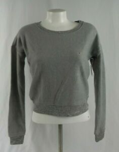 NEW Aeropostale Live Love Dream Super Soft Gray Fleece Crop Sweatshirt (A1-48)