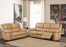 Fusion Beige High Grade Leather Recliner 3 Seater 2 Reclining Armchairs Suite