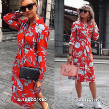 47058cdd _ZARA SS18 PRINTED TUNIC DRESS DRAPED KNOT FLORAL RED 4043/097_XS,S