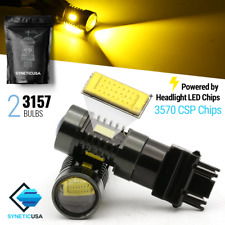 Syneticusa 3157 Amber/Yellow Front Turn Signal Parking LED Light Bulbs CSP-Chip