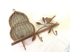 Rare NEW Metal French style Bird Birdcage Leaf Mirror Wall Hanging Hook Hanger