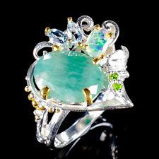 Vintage Natural Emerald 925 Sterling Silver Ring Size 7.5/R121017