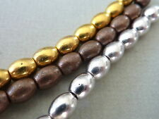 Metallperlen oval Reiskorn Spacer Zwischenperlen 5mm gold silber 2747