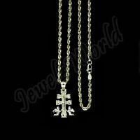 Real 10K Yellow Gold Caravaca Cross Charm Pendant With 2mm Rope Chain Necklace