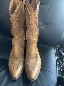 Men's DAN POST DP6622 Tan Buck Stitched Western Cowboy Leather Boots 11D