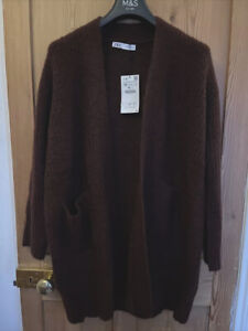 Zara Oversized Burgundy Wine Open Cardigan With Long Sleeves And Pockets Size S