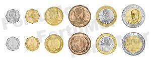 CHILE UNC SET of 6 COINS 1 5 10 50 100 500 PESOS 1988 2012