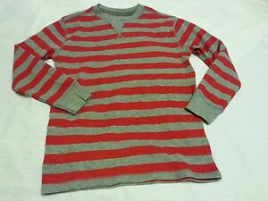 CrewThermal Shirt Size Small 6-7 Boys Stripe Red Gray