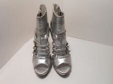 Anna Michelle Silver Spiked Ladies High Heel Open Toe Shoes - Size 5.5 - EC