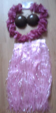 PINK HAWAIIAN SKIRT/LEI AND COCONUT BRA FANCY DRESS   B