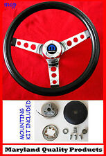 "1966 Dodge Charger Black & Chrome Steering Wheel 14 1/2"" wheel, horn kit, cap"