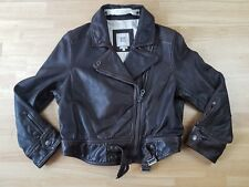 Ruehl No.925 Jacket Women Large Heavy Brown Leather Biker Moto Silk Lined