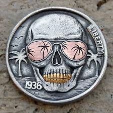 Hobo Nickel Summer Vibes Skull hand engraved 1936 buffalo coin 24K gold copper