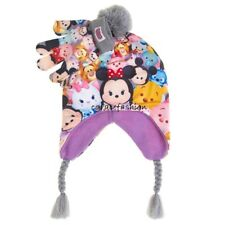 Disney Tsum Tsum Minnie Mouse Pooh Stitch Girl Laplander Winter Hat Gloves Set