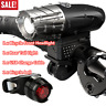 Bicycle Bike Bright LED Front Headlight USB Rechargeable and Rear Tail Light Set