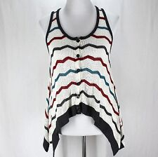 Daytrip Sweater Vest Size S White Red Blue Gray Stripe Open Weave Lightweight