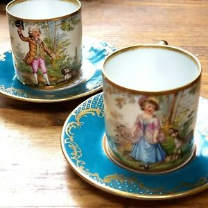 antique Heufel Dresden mark porcelain demitasse cup and saucer Boy/Dog Girl/Fawn