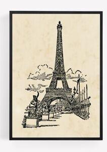 Eiffel Tower Picture Wall Art Landmark Paris Unframed Vintage home Decor A4 8