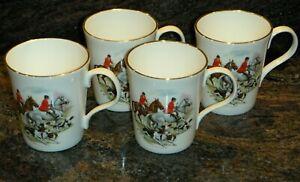 "Crown Trent Fine Bone China Mugs, ""Fox Hunt Scene"", Staffordshire, England"