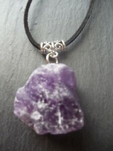 Amethyst Raw Pendant Necklace Adjustable Cord Chakra Healing Yoga Reiki Gift