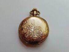 14k Gold Hunting Case Ladies American Waltham Pocket Watch Pretty Case Fine Face