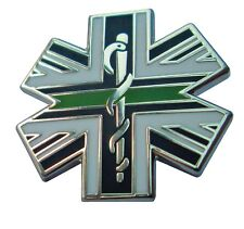 Thin Green Line Star Of Life Union Jack Tie Pin Lapel Badge Ambulance Paramedic