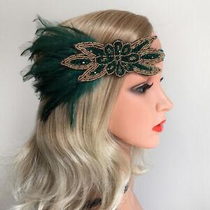 Art Deco 1920s Flapper Headpiece Roaring  Feathers Headband Hair Accessories