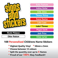 100 Personalised Childrens Name labels stickers Lunch boxes - School - pen tags.