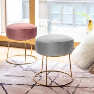 Velvet Pouffe Vanity Stool Dressing Table Chair Bedroom Makeup Footstool Round