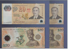 Singapore Brunei $20+$20 Commemorative Banknote UNC with Folder 2set R/N
